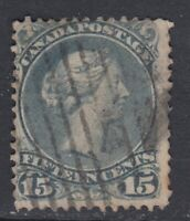 "Canada Scott #30b  15 cent blue grey ""Large Queen""    F"