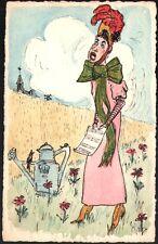 Carte peinte attribuée à Paul Legrand. Aquarelle. Chanteuse à l'arrosoir ca 1910