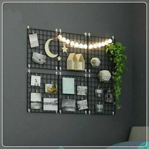 Wall Decorative Metal Mesh Grid Photo Hanging Panel Frame Home Room Art Decor