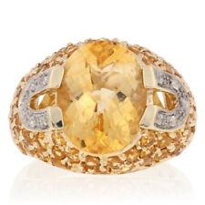 7.14ctw Oval Cut Citrine & Diamond Ring - 10k Yellow Gold Women's Size 6