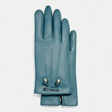 Coach Dark Teal Women's Bow Leather Wool Lined Gloves F20887 Sz 8 -NWT $135