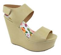 Delicious Women Wedge Shoes Open Toe Platform Strap Sandals Tan Beige SAPHIRE