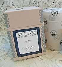 Brand New Crisp Clean White  Votivo Aromatic SOY Candle  6.8 Oz.