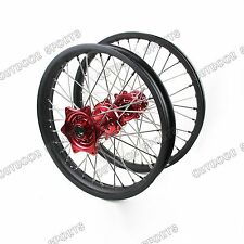 "Wheels Set Red Hubs For Honda CR125R CR250R CRF250 CRF450 21"" & 19"" Black Rims"