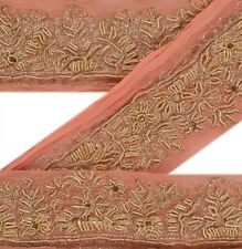 Vintage Sari Border Antique Hand Beaded 1 YD Indian Trim Ribbon Peach Decor Lace
