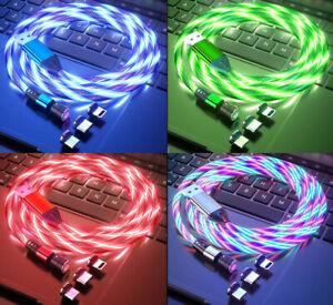 Magnet Ladekabel LED 3in1 iPhone MicroUSB TypeC Apple Samsung Huawei Xiaomi 1 2m