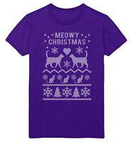 Meowy Christmas Fair Isle T Shirt Christmas Men Women Kid Cat Kitten Lover Lady