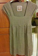 mini abito in maglina con trecce colore tortora scollo quadrato berska taglia S
