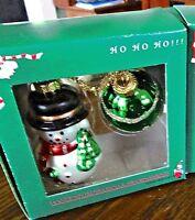 Hand Painted Blown Glass Christmas Ornament Decoration Snowman & Green Ball NIB