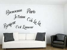 PARIS FRANCE Theme Vinyl Wall Decal Sticker OOH LA LA Bienvenue BONJOUR Words