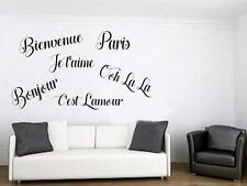 PARIS FRANCE Theme Vinyl Wall Decal Sticker OOH LA LA Bienvenue BONJOUR Words