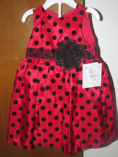 Girls Nwt Marmellata 2 pc red/blk dot dress red diaper cover size 12m