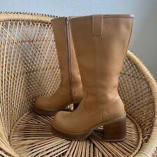 Frye Dorian Chunky Heel Platform Boots Brown Vintage 90s Women's 8 Hippie Boho