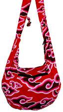 Sac Bandouliere Ethnique Sac à Main Coton Besace Ethnik Bag spirale rose rouge