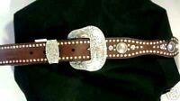 Ladies Nocona Leather AB Crystal Belt  Brown  L