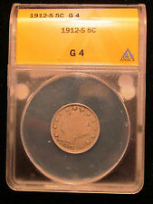 1912-S Liberty V Nickel ANACS G-4 Rare Key Date LOW MINTAGE