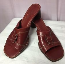 "Cole Haan Mules Country 8B Red Leather  2 1/2"" Heel Open Toe Leather Sole"