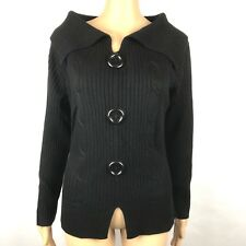 Western Connection Womens Sweater Black Size S Pull Over Large Buttons
