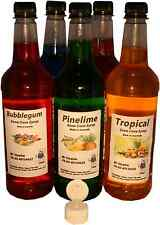 5 x 750 ml of snow cone ,shaved ice syrup mix bottles  4 x flip lid 1 x 3ml pump