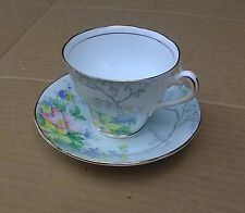 Colorful Flowers Tea Cup & Saucer Salsbury Crown China Made in England 186/4 VGC