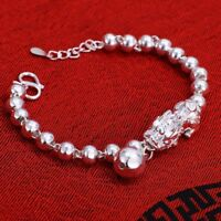 Pure 999 Sterling Silver Pixiu with Round Bead Link Bracelet 17cm L
