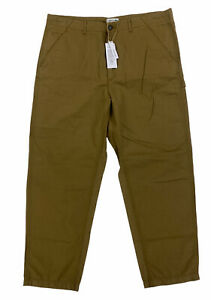 NEW Lacoste Linen Blend Relaxed Fit Chino Brown Trousers Flat Front Pants Sz 40