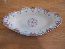 LIMOGES Old Abbey Relish Dish - Pink Roses w/Blue Trim & Gold Rim