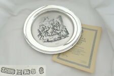 RARE QE II HM STERLING SILVER PICKWICK CHRISTMAS PLATE 1977