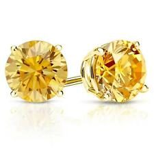 4 Ct Round Yellow Canary Earrings Studs Solid 14K Yellow Gold Screw Back Basket