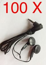 100x Disposable head Phones Or Ear Buds Black Color  Stereo Sound Good Quality