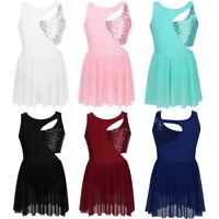 Girl Gymnastics Leotard Dress Kids Lyrical Ballet Dancewear Tutu Skirt Dancewear