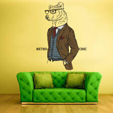 Full Color Wall Decal Sticker Animal Brown Bear Retro Glasses Hipster (Col170)
