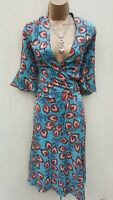 12 UK KAREN MILLEN Silk Turquoise Peacock Feather Fit Flare Wrap Shirt Dress