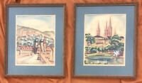 German Cityscapes Two Original Vintage Watercolors Signed