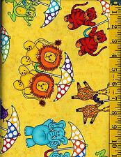 Rainy Days Nights Noahs Ark Cotton quilt fabric Tossed Zoo animals on Yellow 1/2