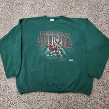 Vintage 90s Crewneck Sweatshirt Miami Hurricanes College Football Size 2XL