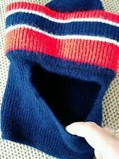 Vintage Childrens Kids Blue Red Winter Knit Eski Ski Mask