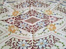 """Elaborate Colorful Floral Madeira Cutwork Embroidered Linen Tablecloth 102""""x82"""""""