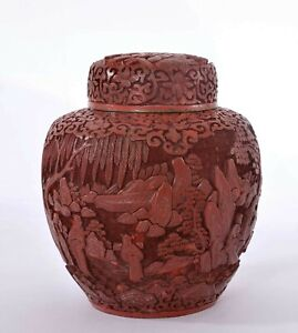 1900's Chinese Deeply Carved Carving Cinnabar Lacquer Tea Caddy Vase Jar Figure