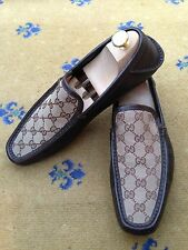 Gucci Men's Shoes Brown Canvas Loafers Deck Boating UK 8.5 US 9.5 EU 42.5