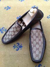 Gucci Chaussures Hommes Marron Toile Mocassins Pont Bateau UK 8.5 US 9.5 EU 42.5