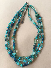 Designer Tica Rosa Green Blue Turquoise Fluorite Sterling  Multi-strand necklace