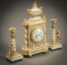 Louis XVI Style Ormolu Mounted Marble Three-Piece Clock Garniture Circ... Lot 97