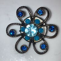 Vintage Costume Jewellery Blue Rhinestone Flower Bronze Tone Crafter Brooch