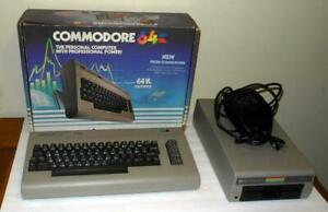 VINTAGE COMMODORE 64 COMPUTER W POWER SUPPLY IN BOX & 1541 FLOPPY DRIVE
