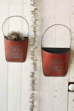 Christmas RED Metal Wall Pockets Primitive Rustic Galvanized -Vintage
