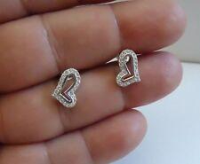 925 STERLING SILVER SWIRL OPEN HEART STUD EARRINGS W/ .75 CT ACCENTS/13MM BY 9MM