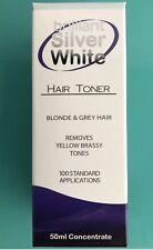 BRILLIANT SILVER WHITE HAIR TONER, INSTANT RESULTS! 50ml RemoveYellowBrassyTone