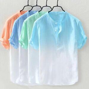 Mens Grandad Casual Shirts Mandarin Smart Shirt Short Sleeve Summer Top RH08