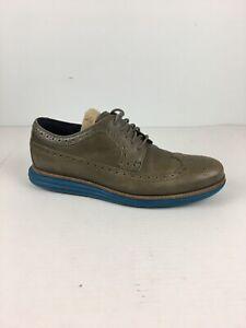 Cole Haan Men Lunargrand Wingtip Derby Shoes 10 Dark Gull Grey Seaport Blue Sole